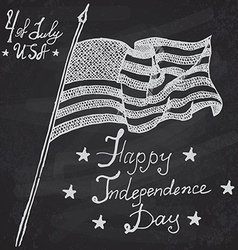Usa waving flag American symbol forth of july Hand vector image
