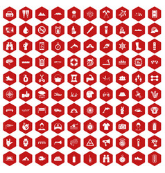 100 rafting icons hexagon red vector