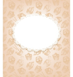 Retro background with cupcakes and doily vector image