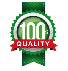 Hundred percent quality green ribbon vector