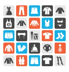 Silhouette clothing and fashion collection icons vector