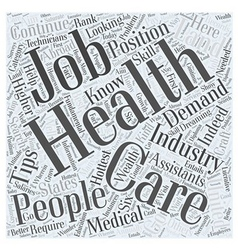 Jh health care job search tips word cloud concept vector