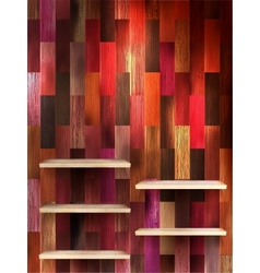 Empty shelf for exhibit on color wood eps 10 vector