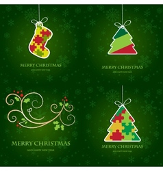 Set of four greeting cards with christmas elements vector