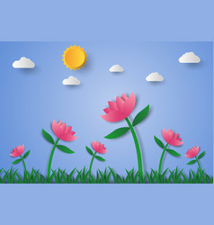 Pink flower field with grass and sky paper art vector