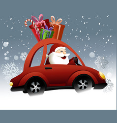 Santa claus driving a car vector