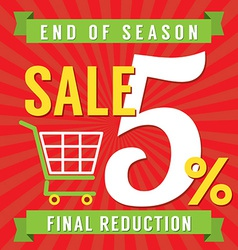 5 percent end of season sale vector
