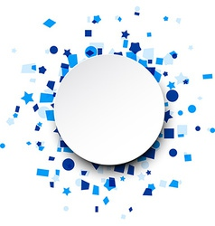 Round paper card over blue confetti vector