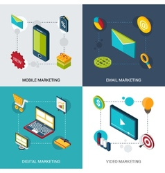 Marketing isometric set vector