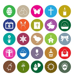 Easter icons set circle vector