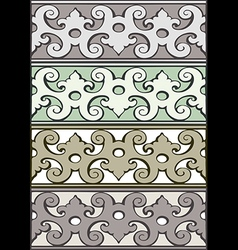 5 set of decorative borders vintage style silver vector