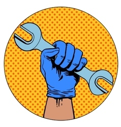 Sign of repair hand holding wrench symbol vector