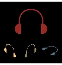 Headphones icon set vector