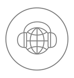 Globe in headphones line icon vector