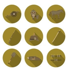 Flat icons the first world war vector