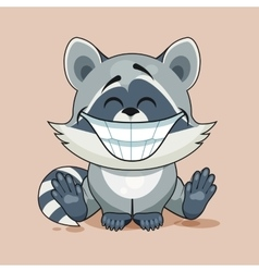Raccoon cub with huge smile vector