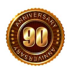 90 years anniversary golden brown label vector