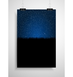 Starry sky and grass poster on the wall eps 10 vector