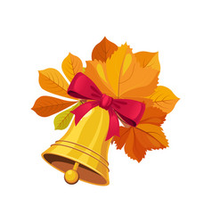 bell with bow and leaves set of school and vector image vector image