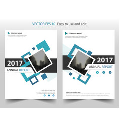 Blue square annual report leaflet brochure flyer vector