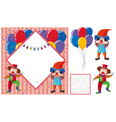 border template with happy and sad clowns vector image vector image
