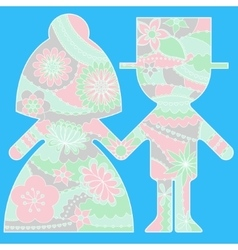 Bride and groom simple silhouette painted colorful vector