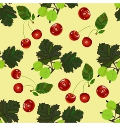Cherry and gooseberry seamless pattern vector
