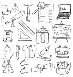 Classroom supplies doodles school education vector