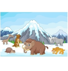 Collection of ice age animals animals with a backd vector