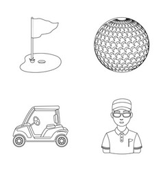 Field with a hole and a flag a golf ball a vector