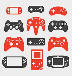 gamepad silhouette icon set vector image