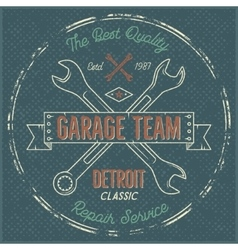 Garage service vintage label tee design detroit vector