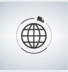 global truck delivery icon vector image