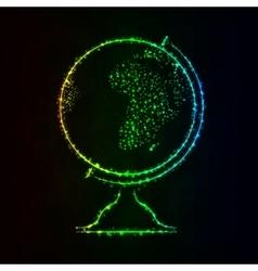 Globe silhouette of lights on dark background vector image