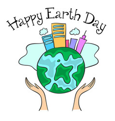 Happy earth day with city on the world vector
