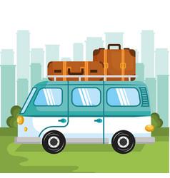 Hippie minivan design vector