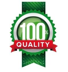 Hundred percent quality green ribbon vector image