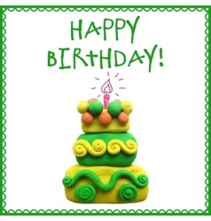Icon of plasticine birthday cake vector image