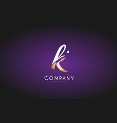 K alphabet letter gold golden logo icon design vector
