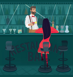 lonely girl in red sits in an empty bar vector image