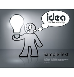 Man with bulb in grey vector image