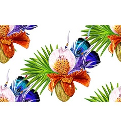 Orchid and Feathers white pattern vector image vector image