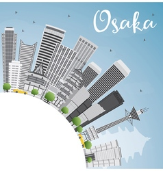 Osaka skyline with gray buildings blue sky vector