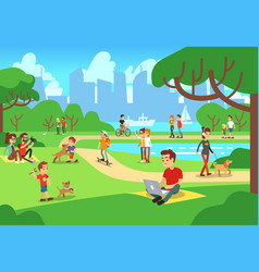 People in city park relaxing men and women vector