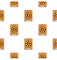Pizza with ingredients on the wooden board pattern vector