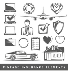 Set of elements on insurance vector image vector image