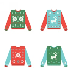 Set of ugly christmas sweaters with winter pattern vector image vector image