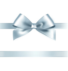 Shiny silver satin ribbon on white background vector image vector image