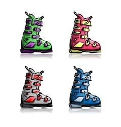 Ski boots set sketch for your design vector image vector image