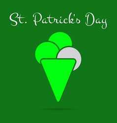 st patricks day card bright green ice cream text vector image
